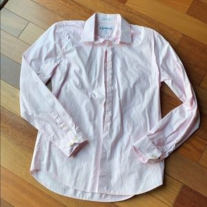 Pink and white Express button down shirt